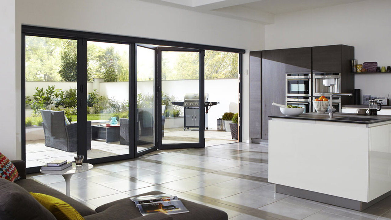 Bi-folding doors in a modern home