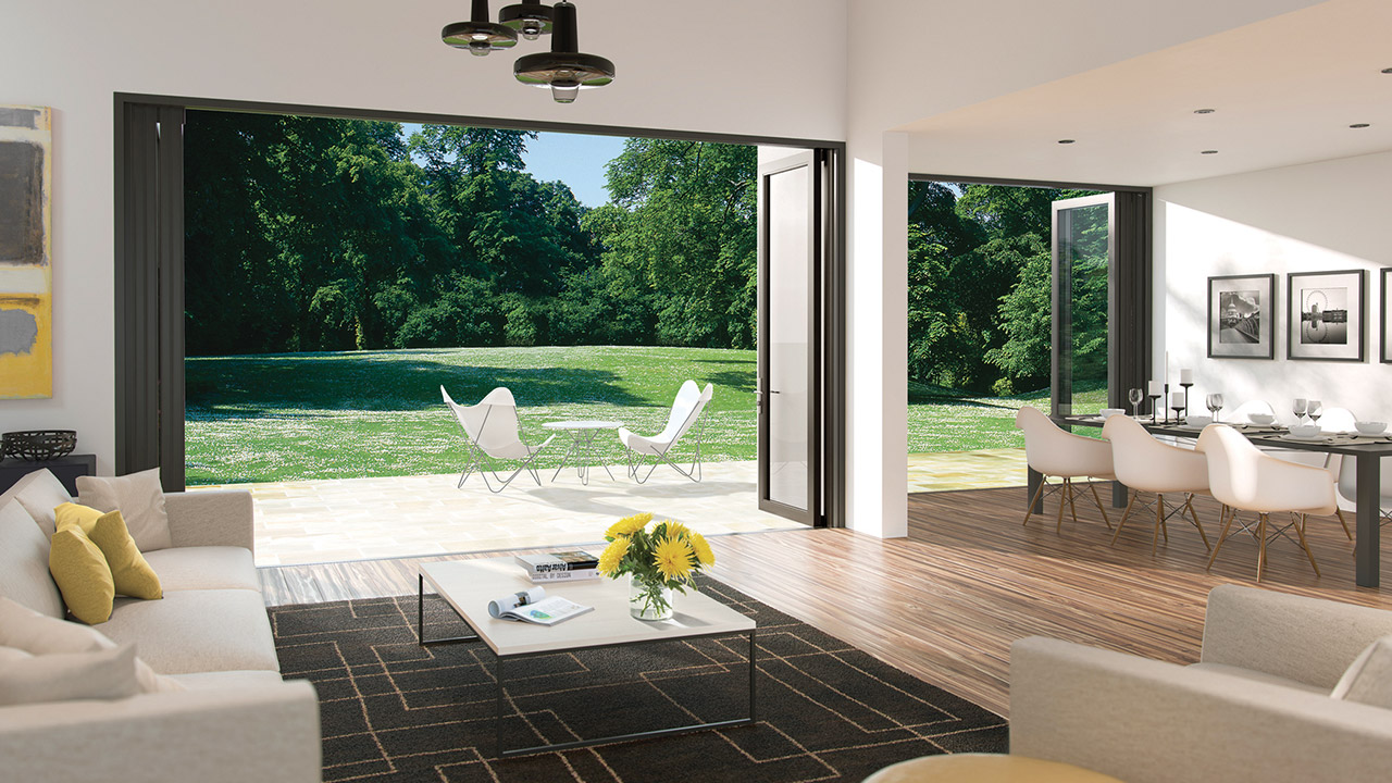 Bi-folding doors opened in garden