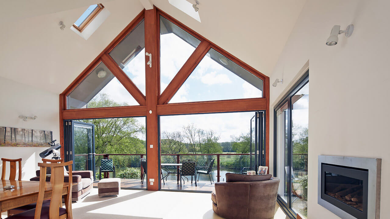 Bright room with bi-folding doors