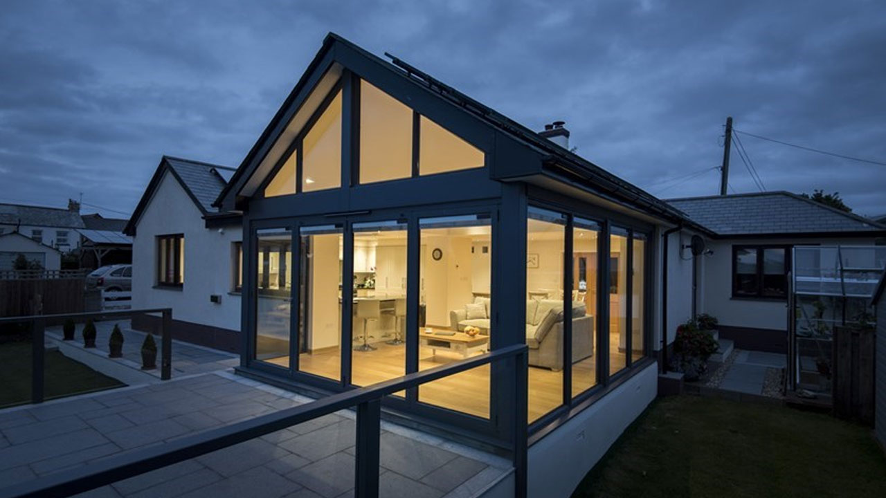 House with bifold doors in the winter