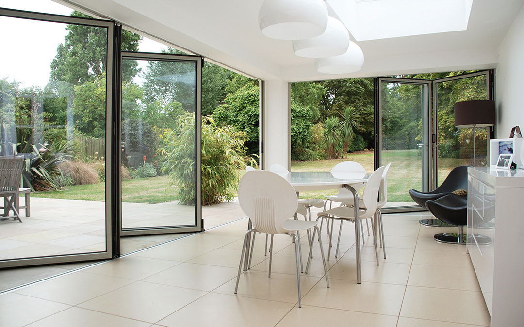 Garden extension with bifold doors